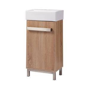 Maelynn 18 in. W x 12 in. D Vanity in Textured Oak with Vanity Top in White and Basin Vauled at $200