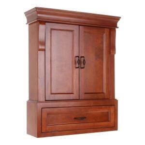 Naples 26-1/2 in. W x 32-3/4 in. H x 8 in. D Bathroom Storage Wall Cabinet in Warm Cinnamon Brand ne